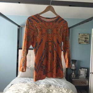 EUC J.Mclaughlin Orange Gold Print Catalina cloth